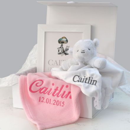 Personalised Pink Blanket, Comforter, Art Baby Hamper